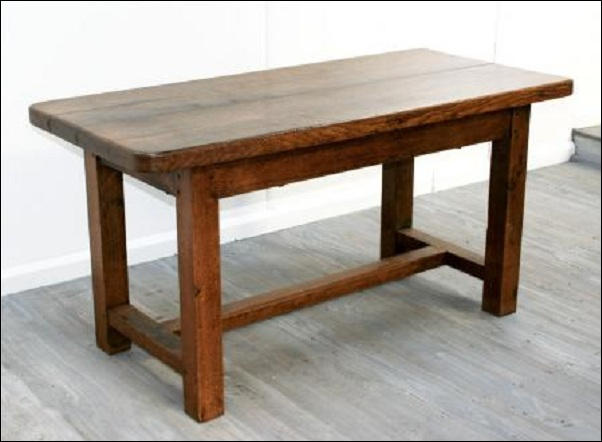 rustic elm kitchen table angle