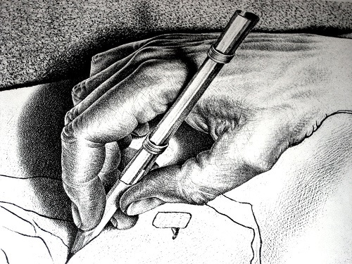 Escher one hand drawing