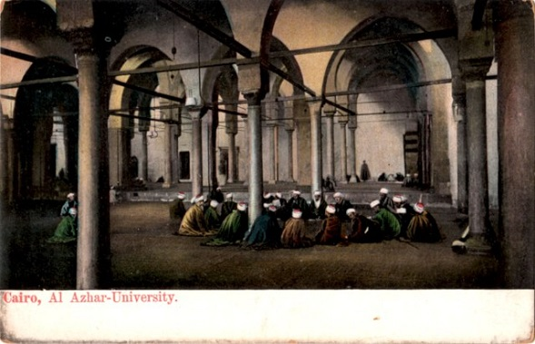 A lecture at al-Azhar, undated postcard, image credit Postcard Memory Palace
