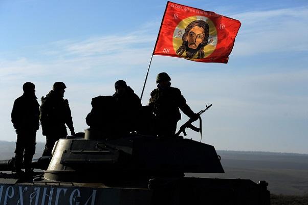 Christ-flag and tank