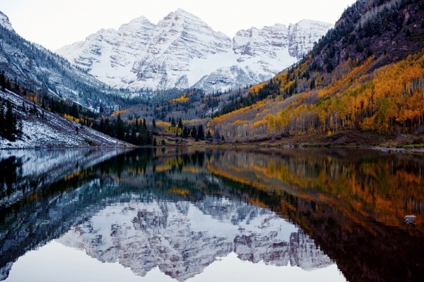 Autumn and winter meet in Colorado, USA