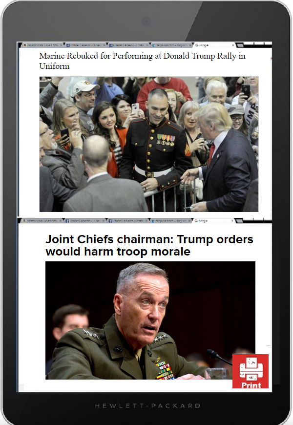 tablet trump & politics in uniform