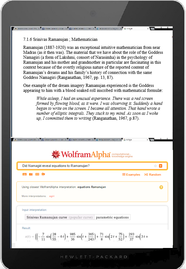 Tablet DQ ramanujan namagiri wolfram 1