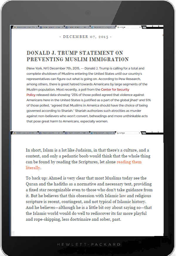 DQ tablet Trump Ahmed
