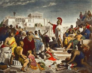 "1GR-12-E1-B -------------------- D: -------------------- Das Zeitalter des Perikles / Foltz Perikles, athen. Politiker, um 500 v. Chr. - 429 v.Chr. - ""Das Zeitalter des Perikles"". - (Versammlung der bedeutendsten Kuenstler, Dichter und Philosophen der Zeit). Druck, spaetere Kolorierung, nach dem Gemaelde, 1852 ff., von Philipp von Foltz (1805-1877). -------------------- F: -------------------- L'epoque de Pericles / Foltz Pericles, homme politique athenien, vers 500 av. J.-C. - 429 av. J.-C. - ""Das Zeitalter des Perikles"" (L'epoque de Pericles). - (Rassemblement des artistes, poetes et philosophes les plus connus de l'epoque). Impr., coloriee post., d'ap. le tableau, 1852, de Philipp von Foltz (1805-1877)."