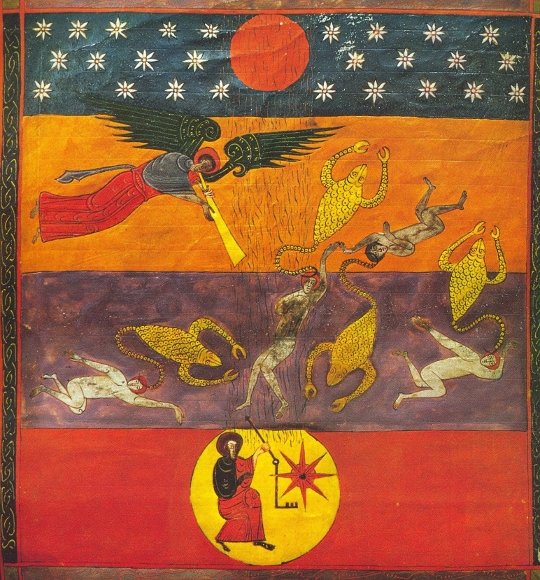 "Beatus de Facunda. And the fifth Angel sounded the trumpet: and I saw a star fall from heaven upon the earth, and to him was given the key of the bottomless pit"" -- Revelation 9.1-11"